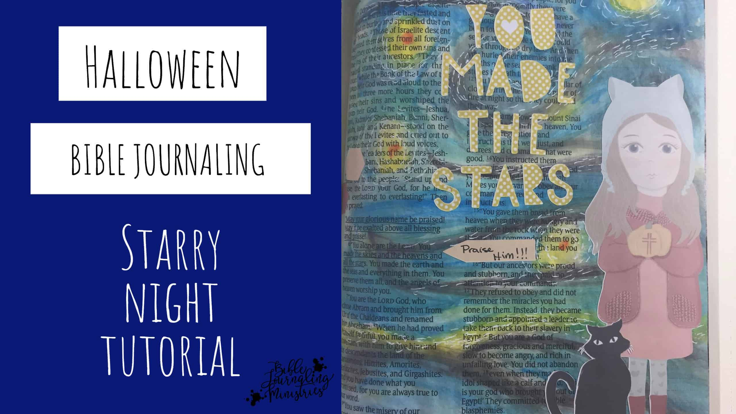 Halloween Bible Journaling – How to Create Starry Night with Gelatos