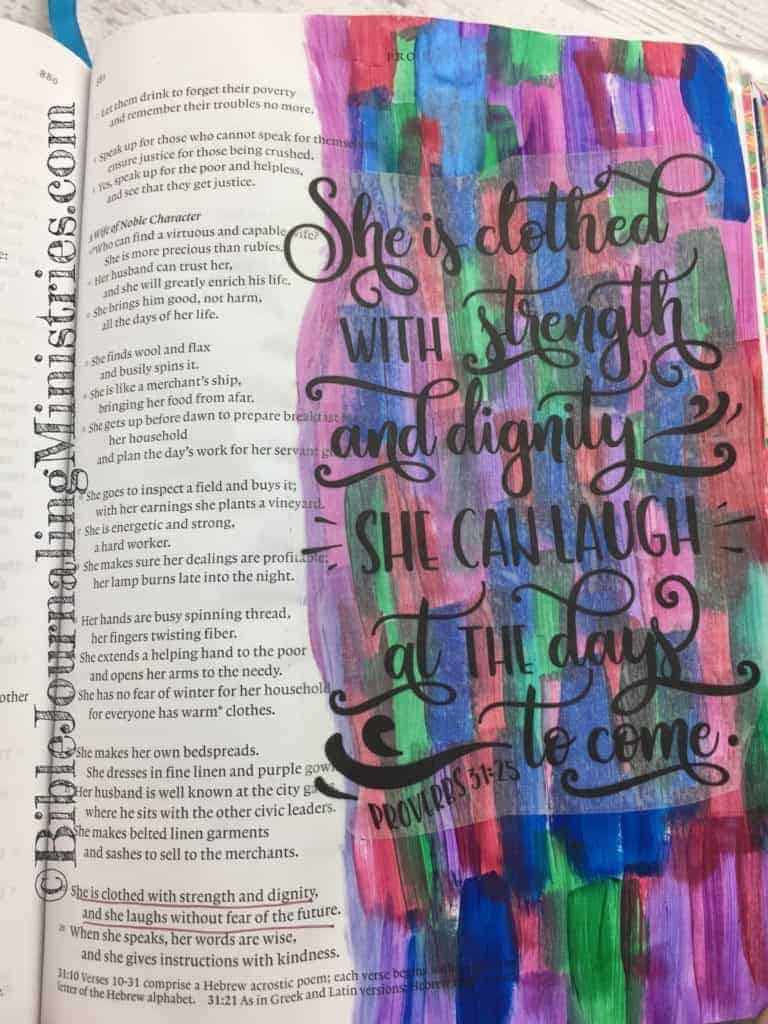 Bible Journaling Proverbs 31:25