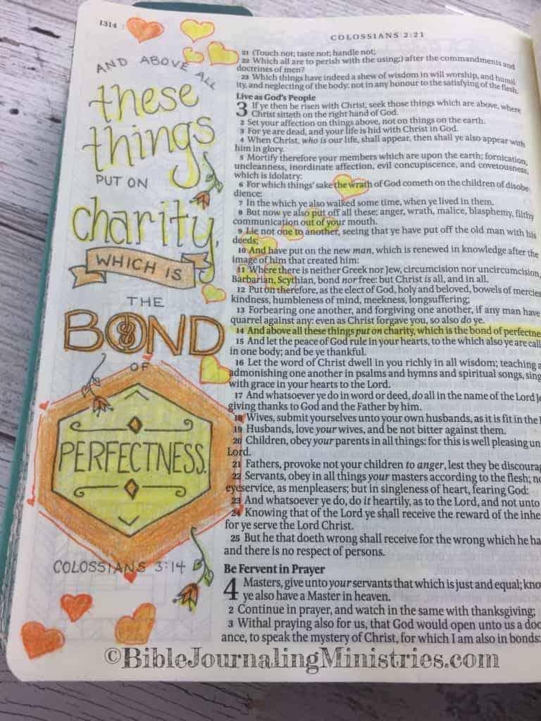 Bible Journaling Colossians 3:14