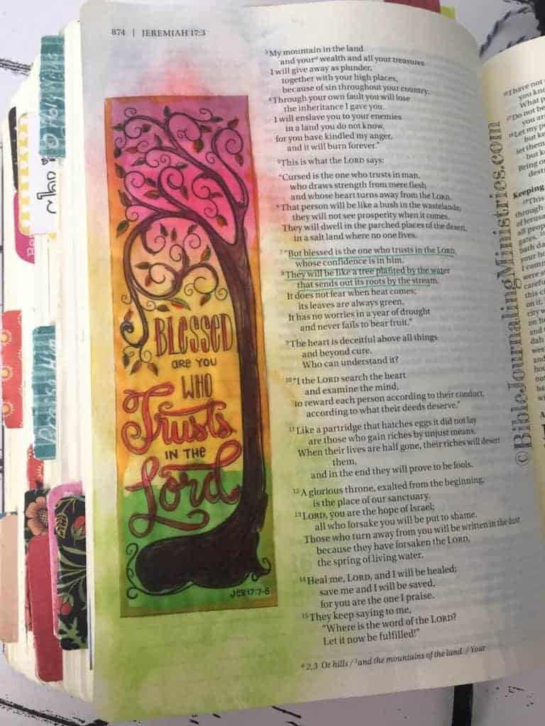 Bible Journaling Jeremiah 17:7-8