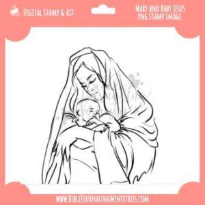 Mary & Jesus Digital Stamp