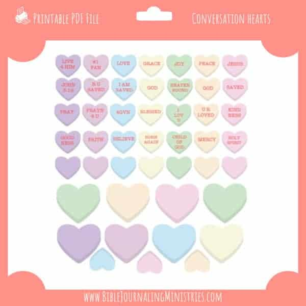 Conversation Hearts Stickers - Bible Journaling Digital Kit