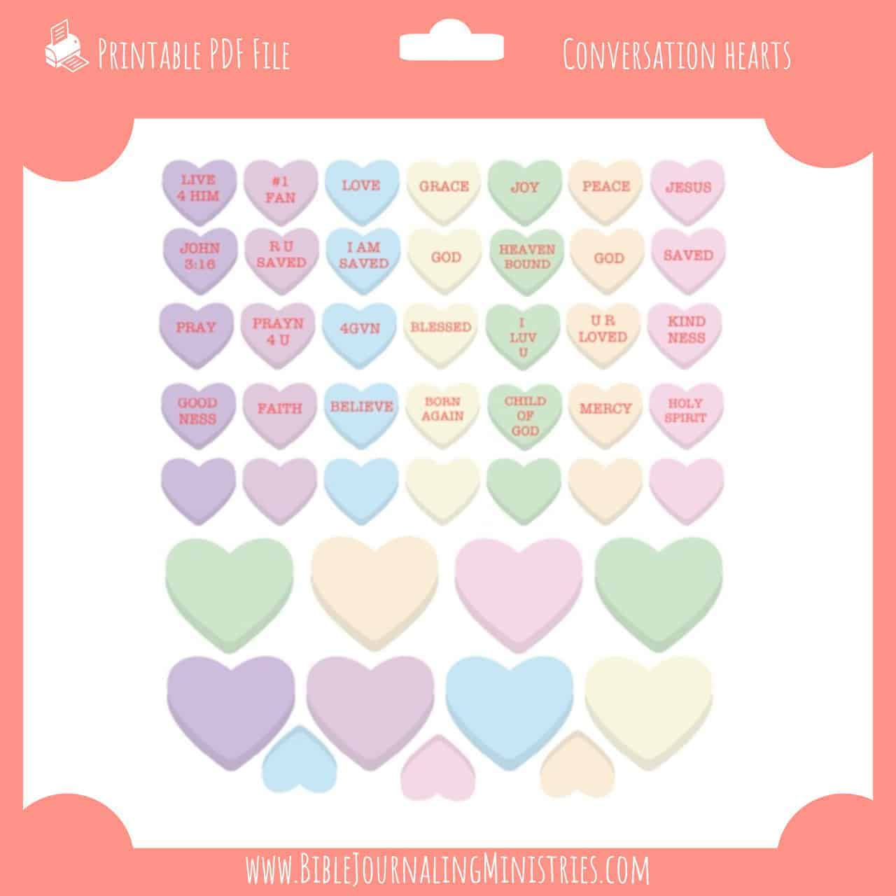 photograph relating to Printable Conversation Hearts referred to as Interaction Hearts Stickers - Bible Journaling Electronic Package