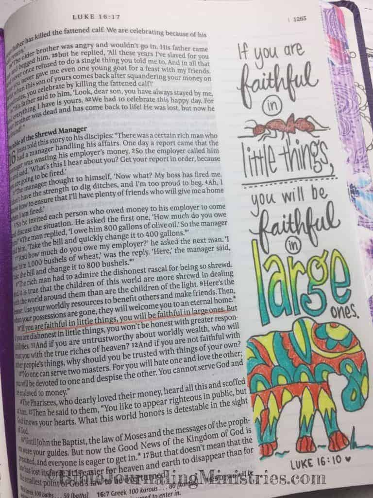 Bible Journaling Ministries Luke 16-10