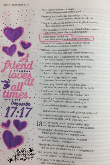 Bible Journaling Proverbs 17:17 verse about friends