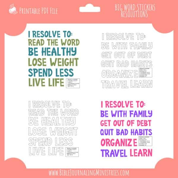 Resolutions - Big Words Stickers - Bible Journaling Digital Kit