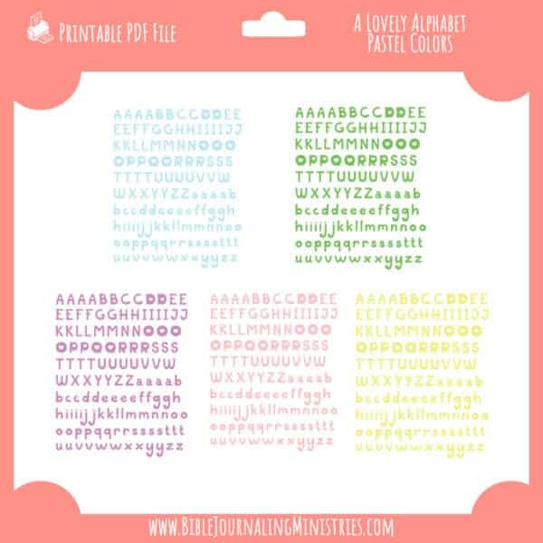 a lovely alphabet pastel stickers