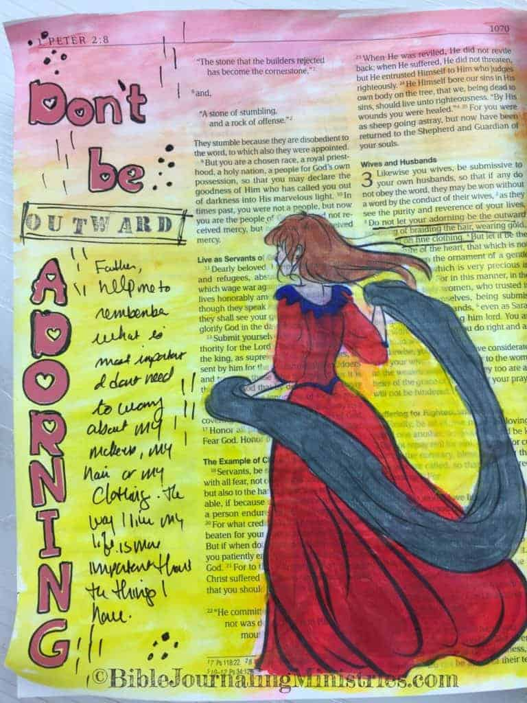Bible Journaling Ideas for Bible Verses About Clothes 1 Peter 3:3