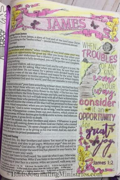 Bible Journaling Ideas for Bible Verses About Healing James 1.2