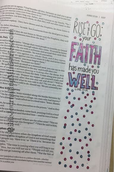 Bible Journaling Idea for Bible Verses About Healing Luke 17.19