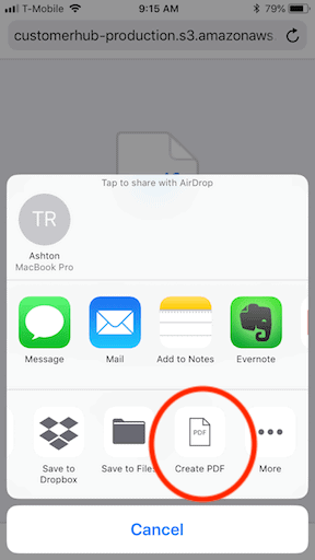 How to print a pdf file from an iphone step 3