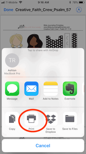 How to print a pdf file from an iphone step 5