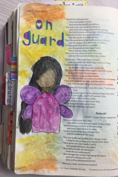 Bible Journaling Bible Verses About Angels Psalm 91.11-13