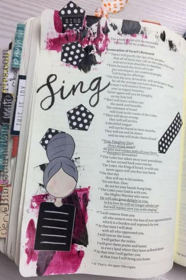 Bible Journaling with the Creative Faith Crew Zephaniah 3.14