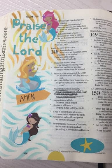 Bible Journaling With Mermaids Psalm 148:7-8