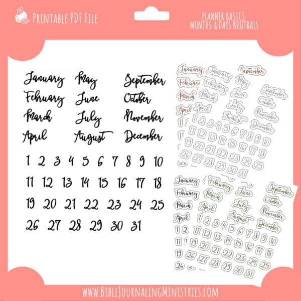planner basics months and days