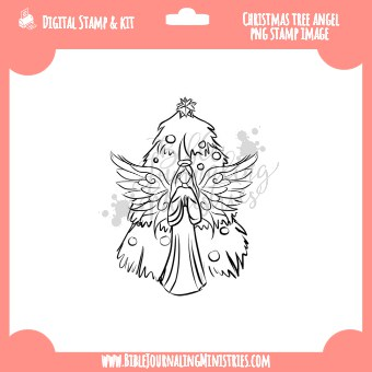 Christmas Tree Angel Digital Stamp