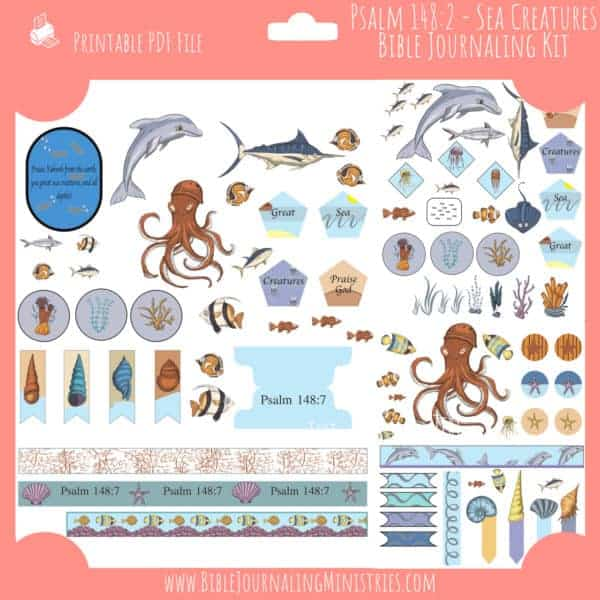 Psalm 148:7 Great Sea Creatures Journaling Kit
