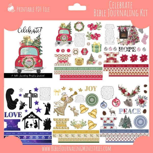 Celebrate Bible Journaling Kit and Devotional - December 2019 Kit